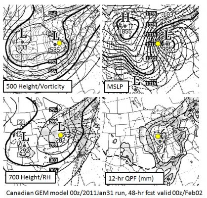 48hr fcst of Canadian GEM valid 00z Feb 2