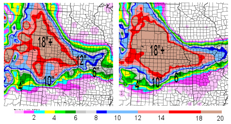 72hr Tot. Snow ending 6am Tues 3/21 fromGFS model (left) and NAM model (right)