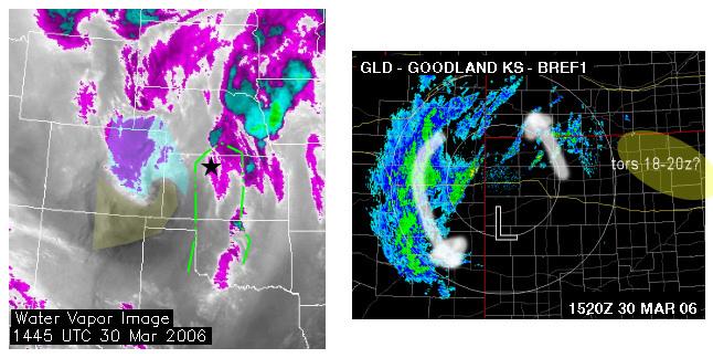WV image (left).. radar (right)