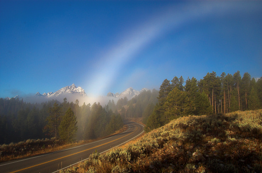 An incredible fogbow with Grant Teton in the background.  One of my best images of the trip!