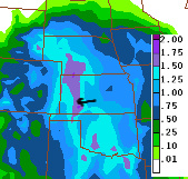60-hr total QPF from the NAM model
