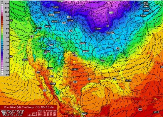 NAM 3-hr Surface temperature forecast for 3pm 1/28