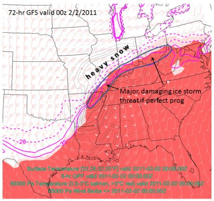 Composite chart showing ice storm potential from the 72-hour GFS forecast valid 00z/Feb02